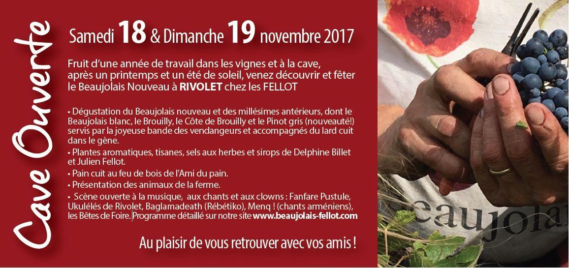 Cave ouverte pour le Beaujolais nouveau le WE du 18 et 19 novembre