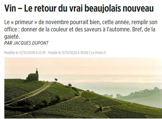 Beaujolais Nouveau Fellot : 16,5/20 par Jacques Dupont, Le Point